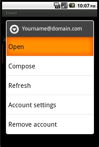 Android Email Account Operation Menu