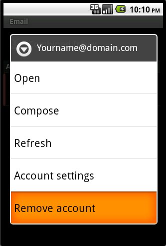 Android Email Account Operation Menu #2